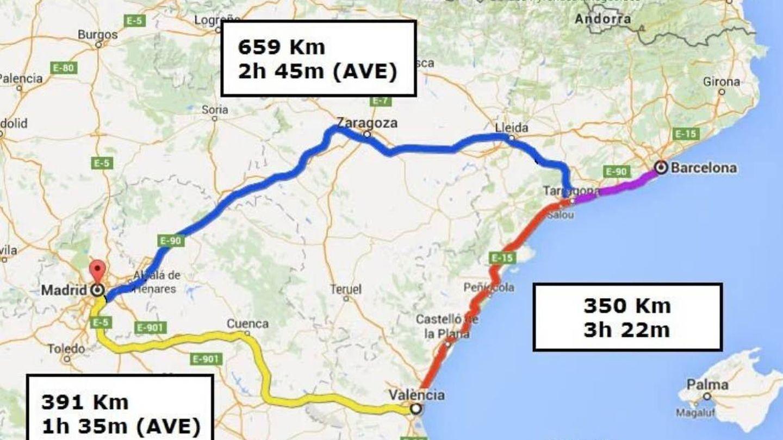 Tiempos de viaje y distancia en el triángulo Barcelona-Valencia-Madrid. (@josepboira)