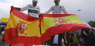 Post de Alonso y Sainz exhiben bandera española tras molestarles un extenso 'Els Segadors'