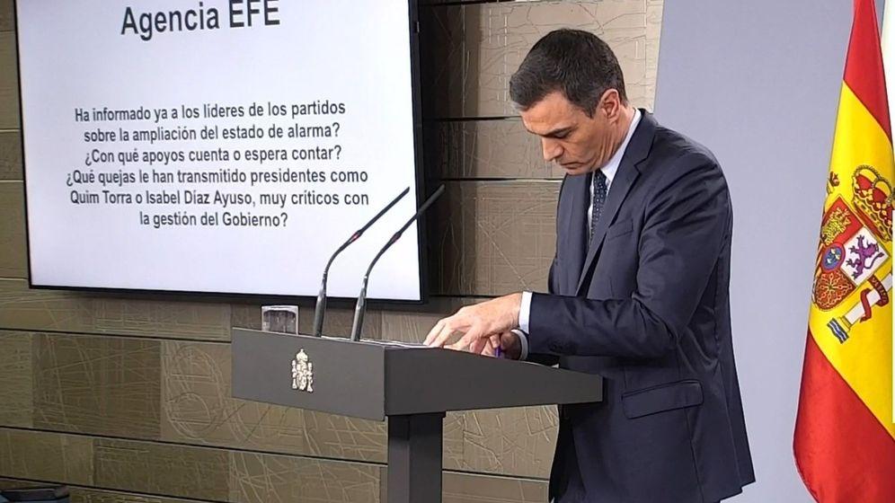 Foto: Rueda de prensa, este domingo, del presidente del Gobierno, Pedro Sánchez, en la que informó de la situación por la crisis del coronavirus. EFE