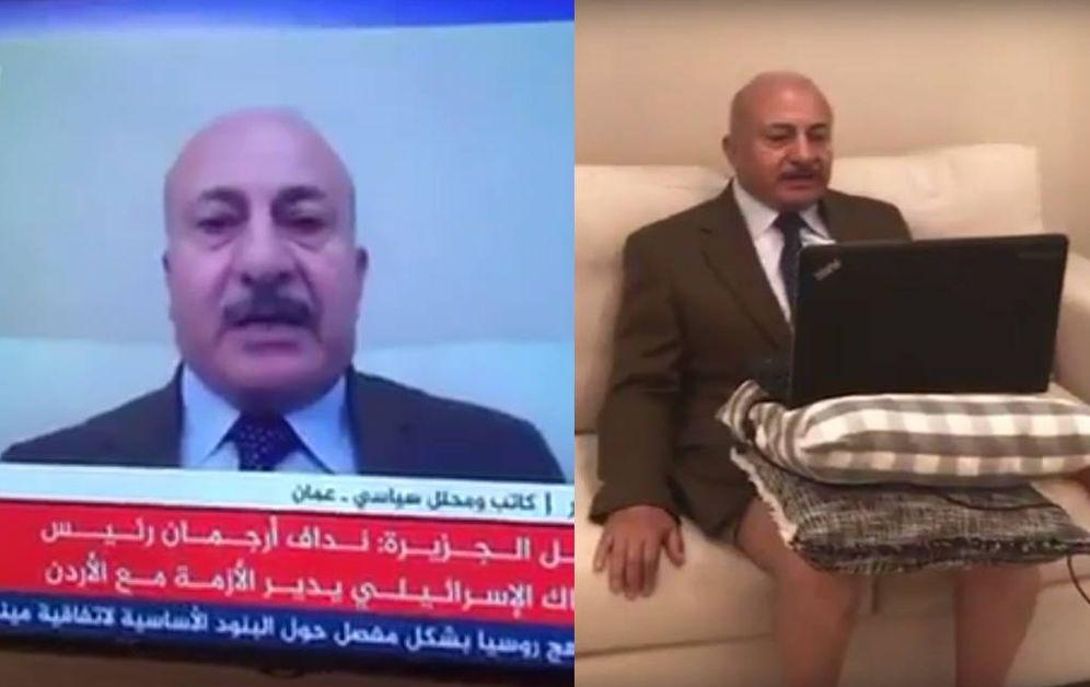 Foto: Montaje a partir de capturas de pantalla del video: Majid Asfour tal y como se veía en pantalla, y cómo estaba en realidad