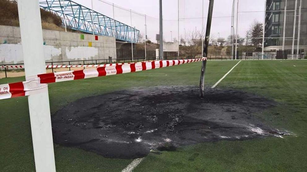 Un incendio provocado deja cojeando la silla donde se apoya el rugby en Madrid