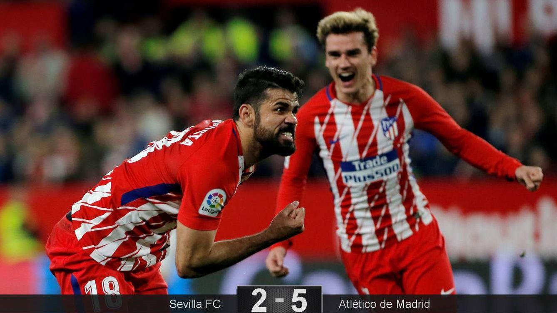 Foto: Diego Costa celebra su gol contra el Sevilla, el primer del Atlético de Madrid en el Sánchez Pizjuán. (Reuters)