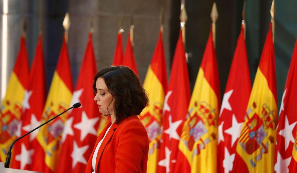 Foto: La presidenta de la Comunidad de Madrid, Isabel Díaz Ayuso, en el acto que compartió con Pedro Sánchez. (EFE)
