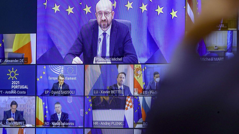 Videoconferencia de líderes europeos de febrero. (EFE)