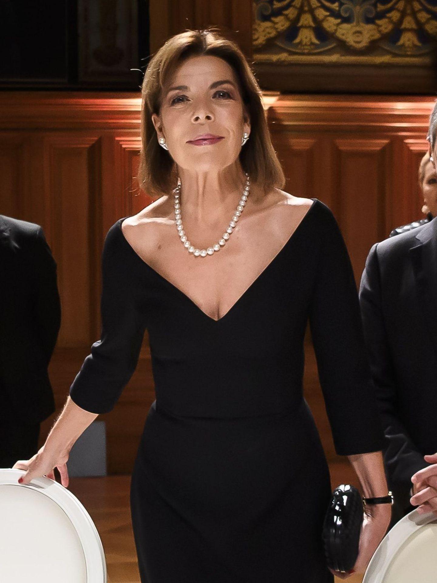 Carolina de Mónaco, durante la cena oficial que compartió con el ministro de Asuntos Exteriores suizo. (EFE)
