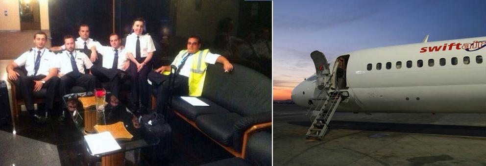 Foto: La tripulación del avión y uno de los aviones de la compañía (Fuente: www.swiftair.com /  Twitter: @TCPazafataVUELO )
