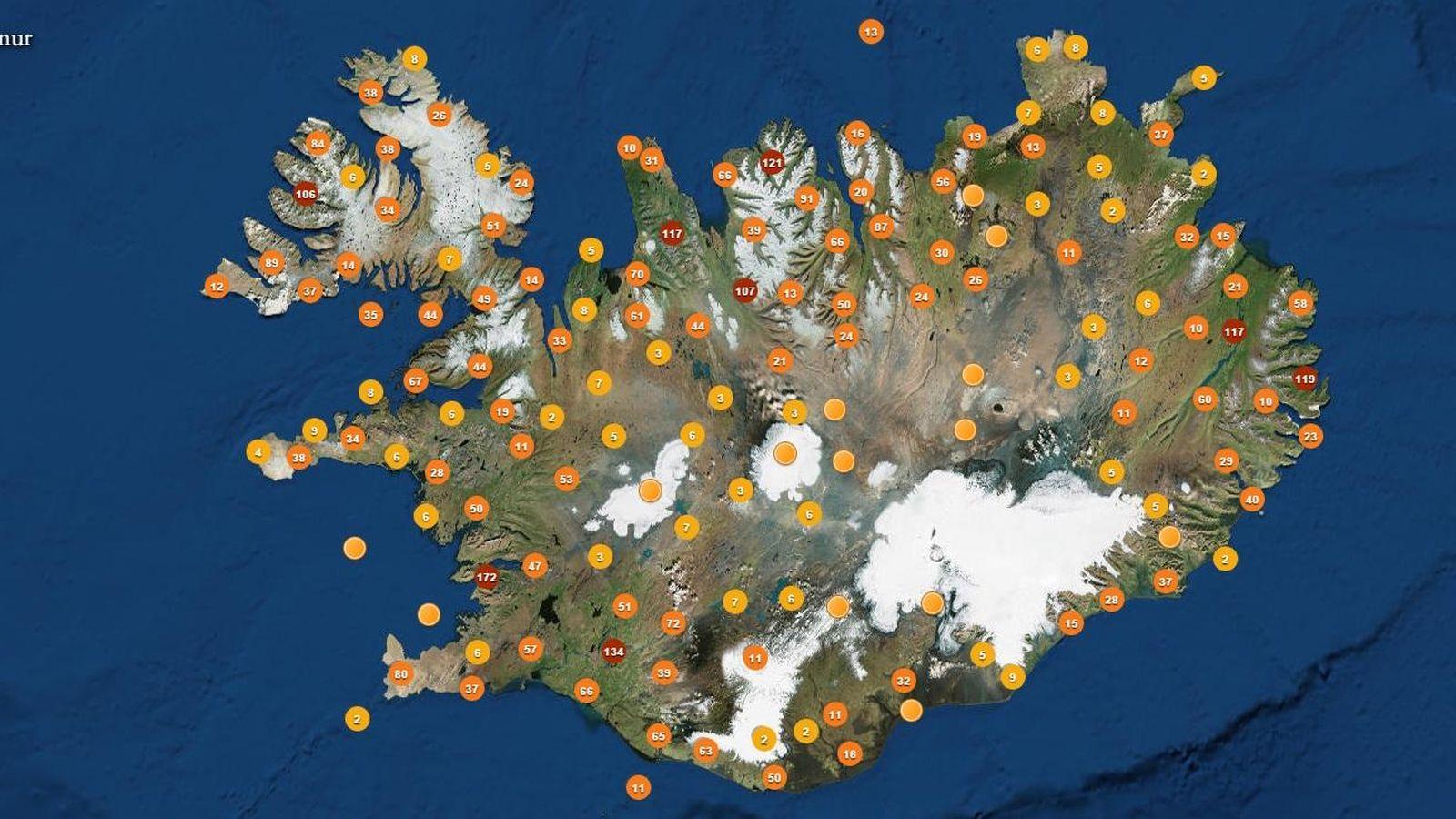 Foto: Mapa de 'avistamientos' de elfos en Islandia (Saga Foundation)