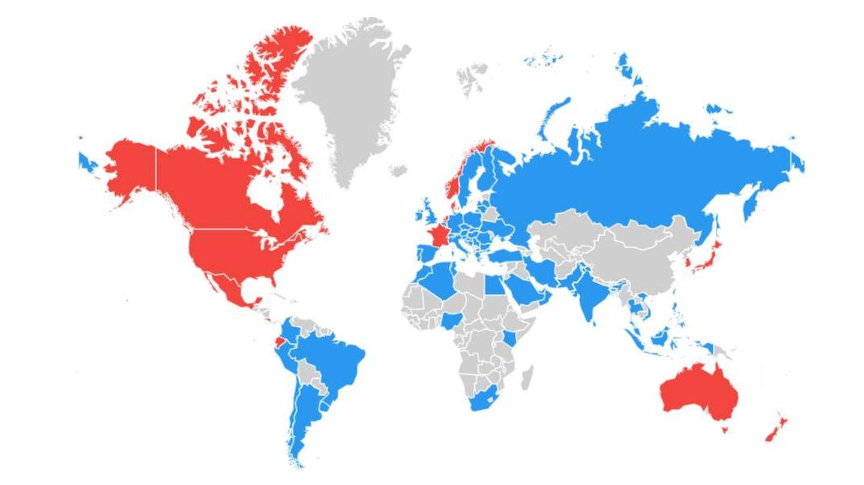 Liderazgo en las búsquedas web entre Airbnb (rojo) y Booking (azul). (Google Trends)