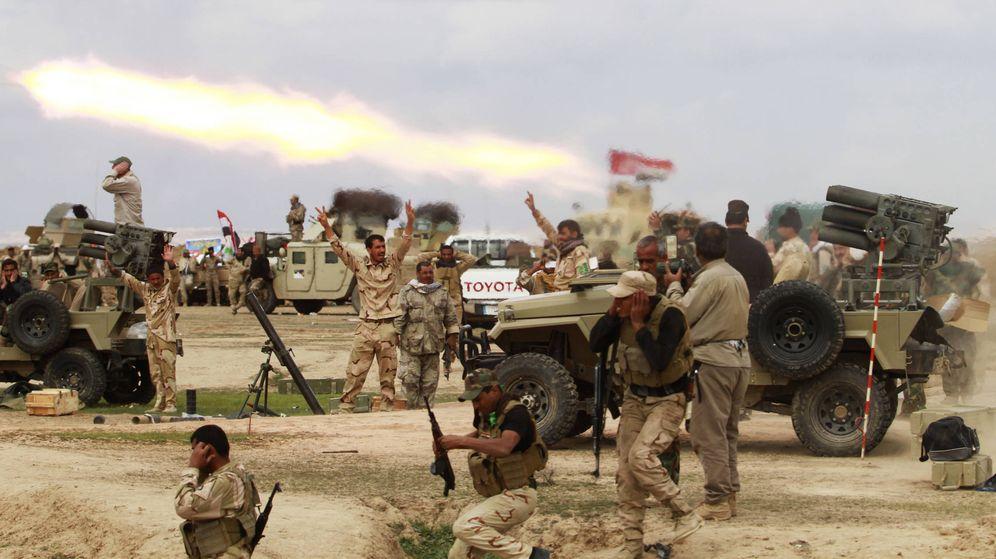 Foto: Milicianos chiíes durante combates contra el Estado Islámico en la gobernación de Saladino, Irak
