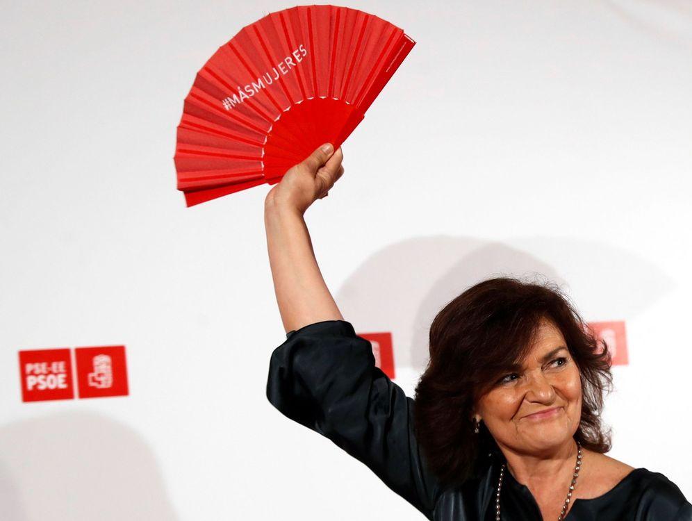 Foto: Carmen Calvo, durante su participación en un acto político organizado por el PSE-EE en San Sebastián. (EFE)