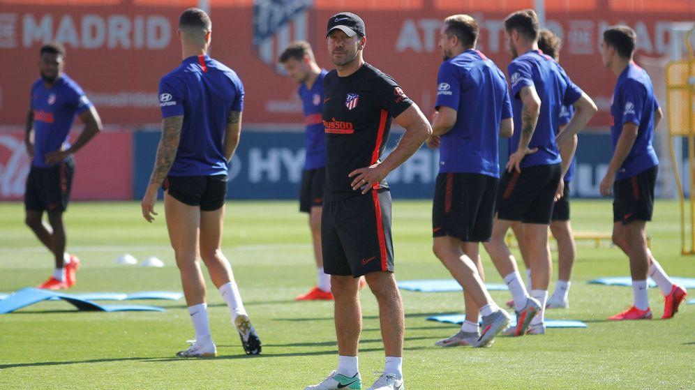 Foto: Entrenamiento del Atlético de Madrid la semana pasada (Efe).