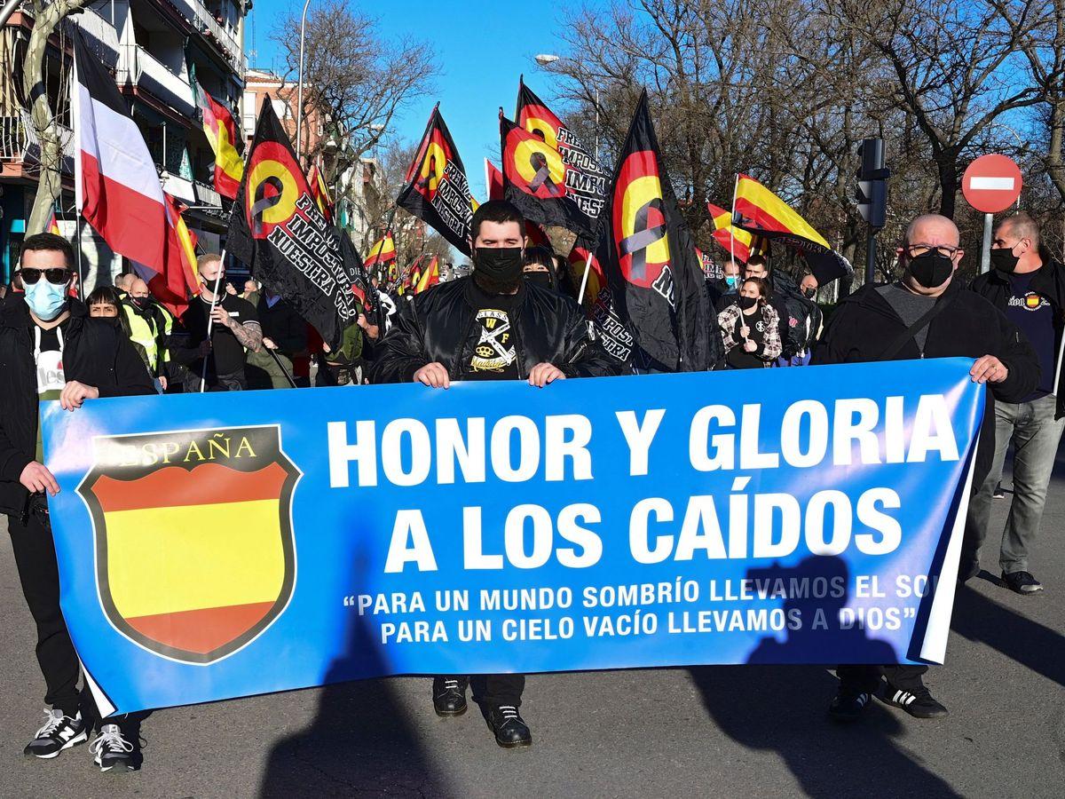 Foto: La marcha neonazi en homenaje a los caídos de la División Azul del 13 de febrero. (EFE)