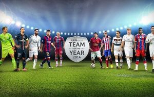 Tres jugadores del Madrid, Messi y Godín, en el once ideal de UEFA