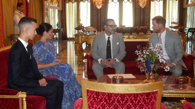 Los duques de Sussex, en la residencia del rey Mohamed VI. (Reuters)