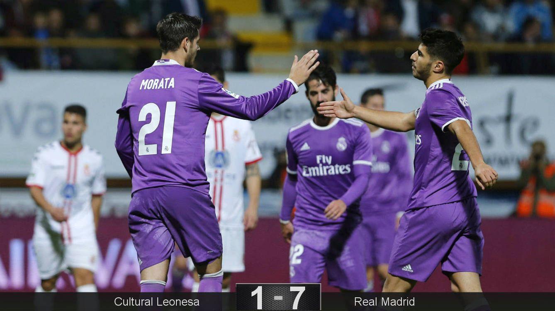 Foto: Morata y Asensio hicieron un doblete cada uno. (José Luis Cereijido/EFE)