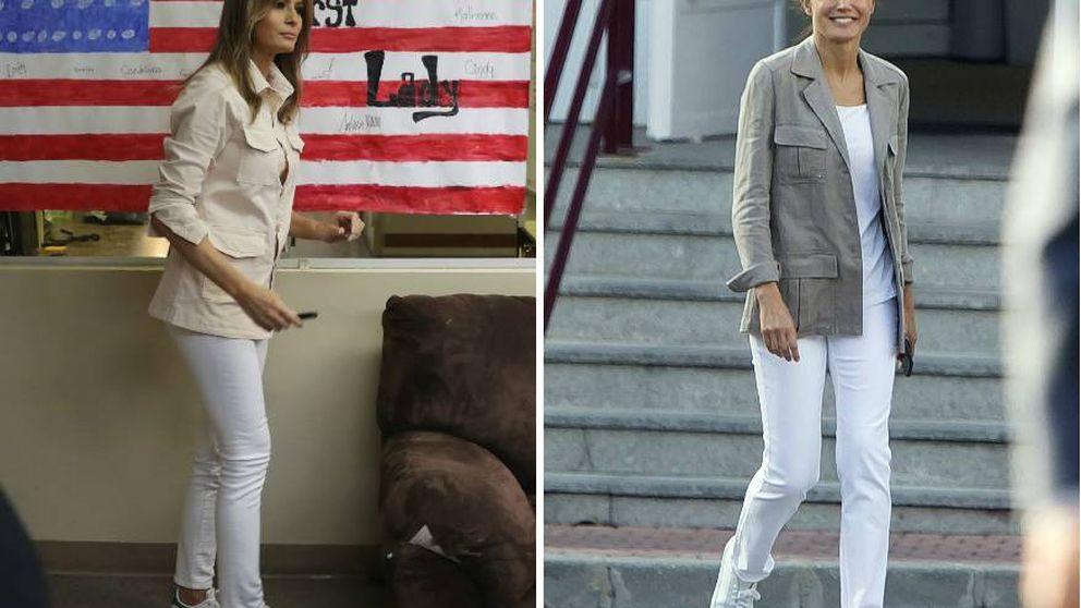 Letizia vuelve a inspirarse en Melania Trump para su look 'vuelta al cole'