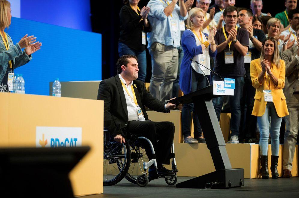 Foto: David Bonvehí (i), proclamado nuevo líder del PDeCAT. A su izqda., de amarillo, la nueva dos, Míriam Nogueras, este 22 de julio en Barcelona. (EFE)