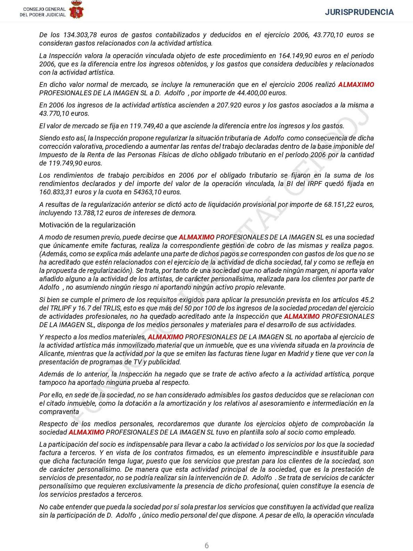 Extracto de la sentencia de los ejercicios 2007 y 2008. (Fuente: Cendoj. Pulse para ampliar)