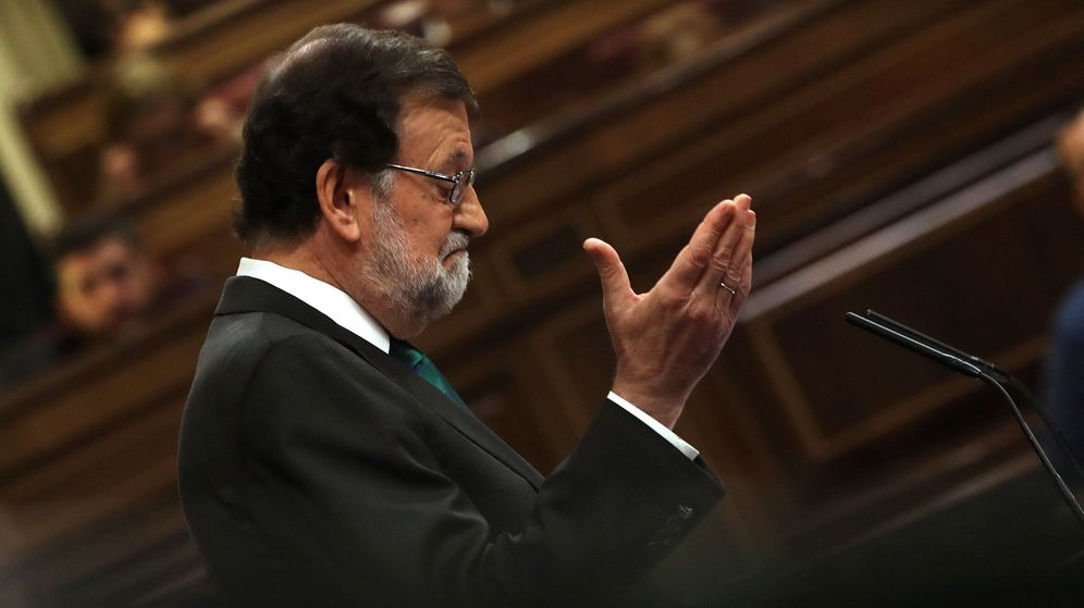 Foto: El presidente del Gobierno, Mariano Rajoy, durante su intervención ante el pleno del Congreso. (EFE)
