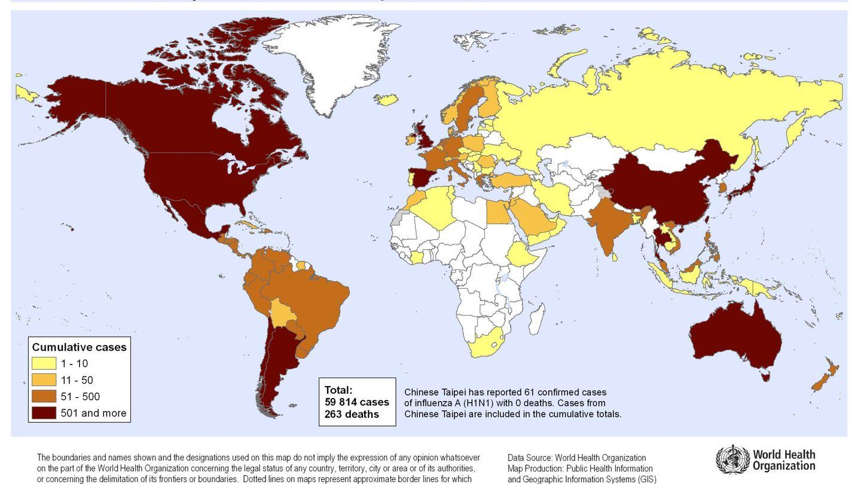 Mapa del impacto de la gripe A en junio de 2009.