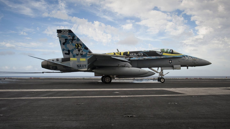 FA-18C Hornet del Strike Fighter Squadron (VFA) 113 ha enganchado el cable sobre la cubierta del USS Carl Vinson (CVN 70) (US NAVY)