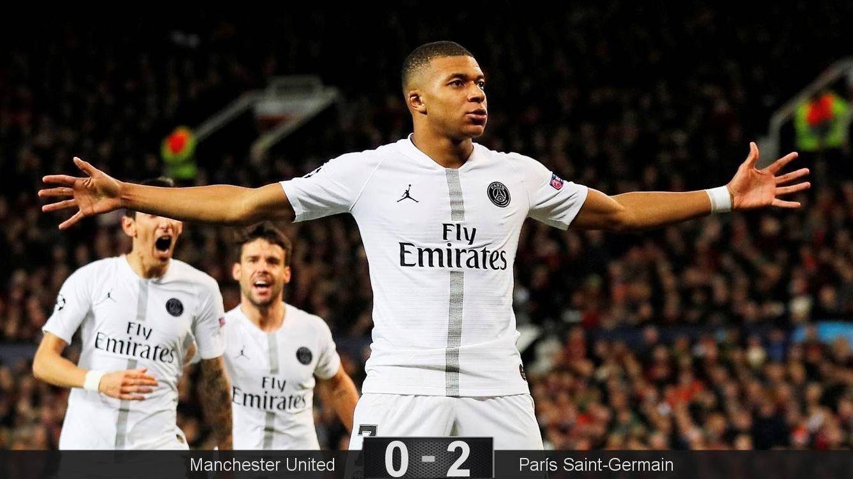 Foto: Kylan Mbappé celebra su gol en la victoria del PSG ante el Manchester United. (Reuters)