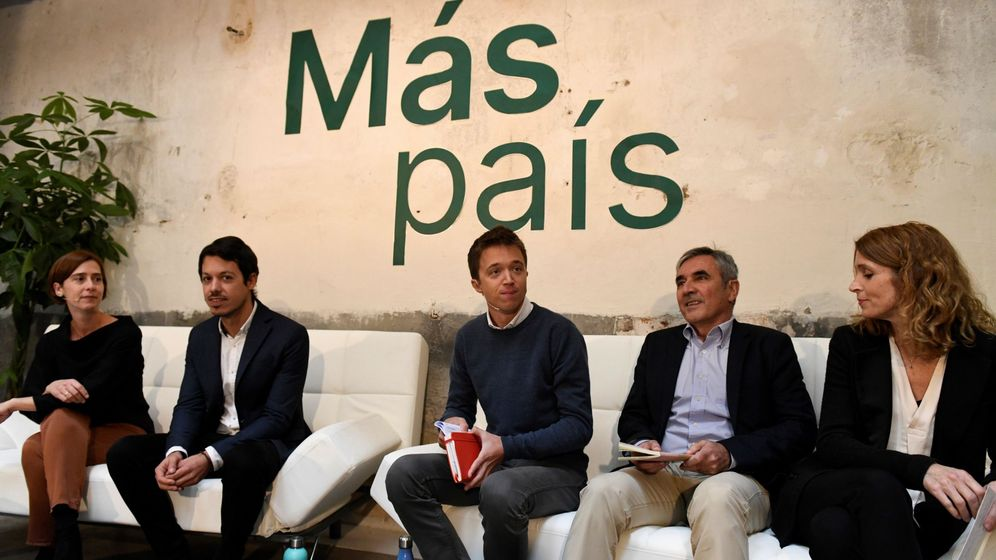 Foto: El líder de Más País, Íñigo Errejón (c), junto a su equipo económico, este miércoles durante la presentación de su plan fiscal. (EFE)