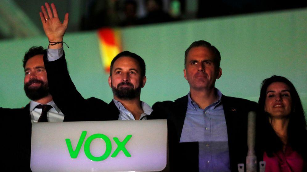 Foto: El líder de Vox, Santiago Abascal, celebra los resultados en las elecciones del 10-N. (Reuters)