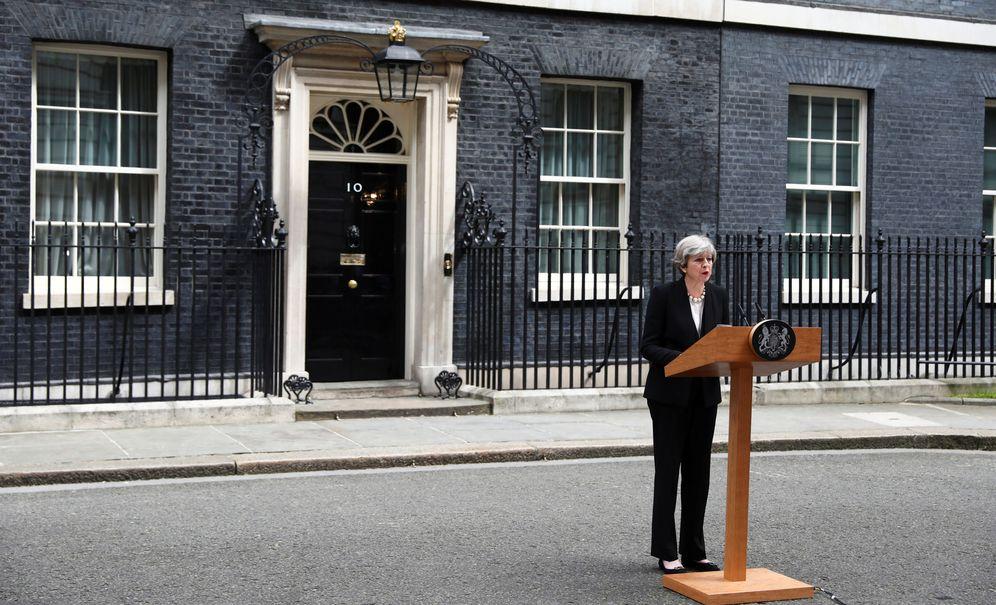 Foto: La primera ministra británica, Theresa May, durante su declaración tras el atentado del Manchester Arena. (Reuters)