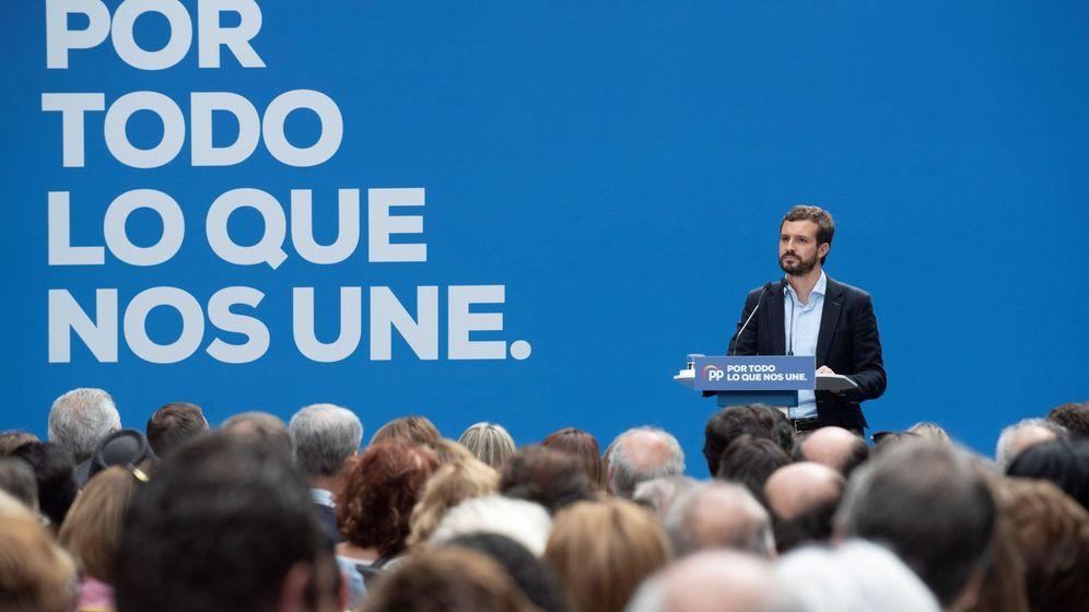 Foto: Pablo Casado en un acto electoral en Vitoria. (EFE)