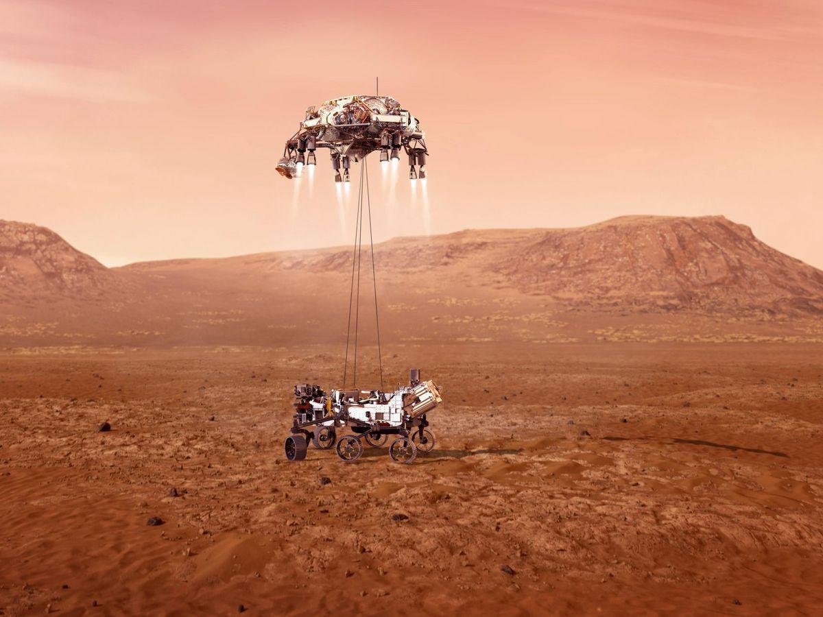 Foto: Una ilustración del 'rover' Perseverance mientras aterriza en la superficie de Marte. (EFE/NASA)