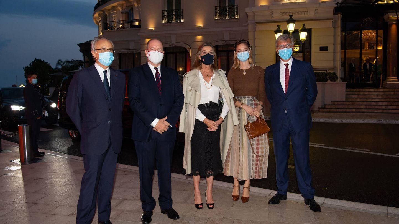 Carolina de Mónaco, Beatrice y Alberto,  antes del concierto del pasado septiembre. (Palais Princier)