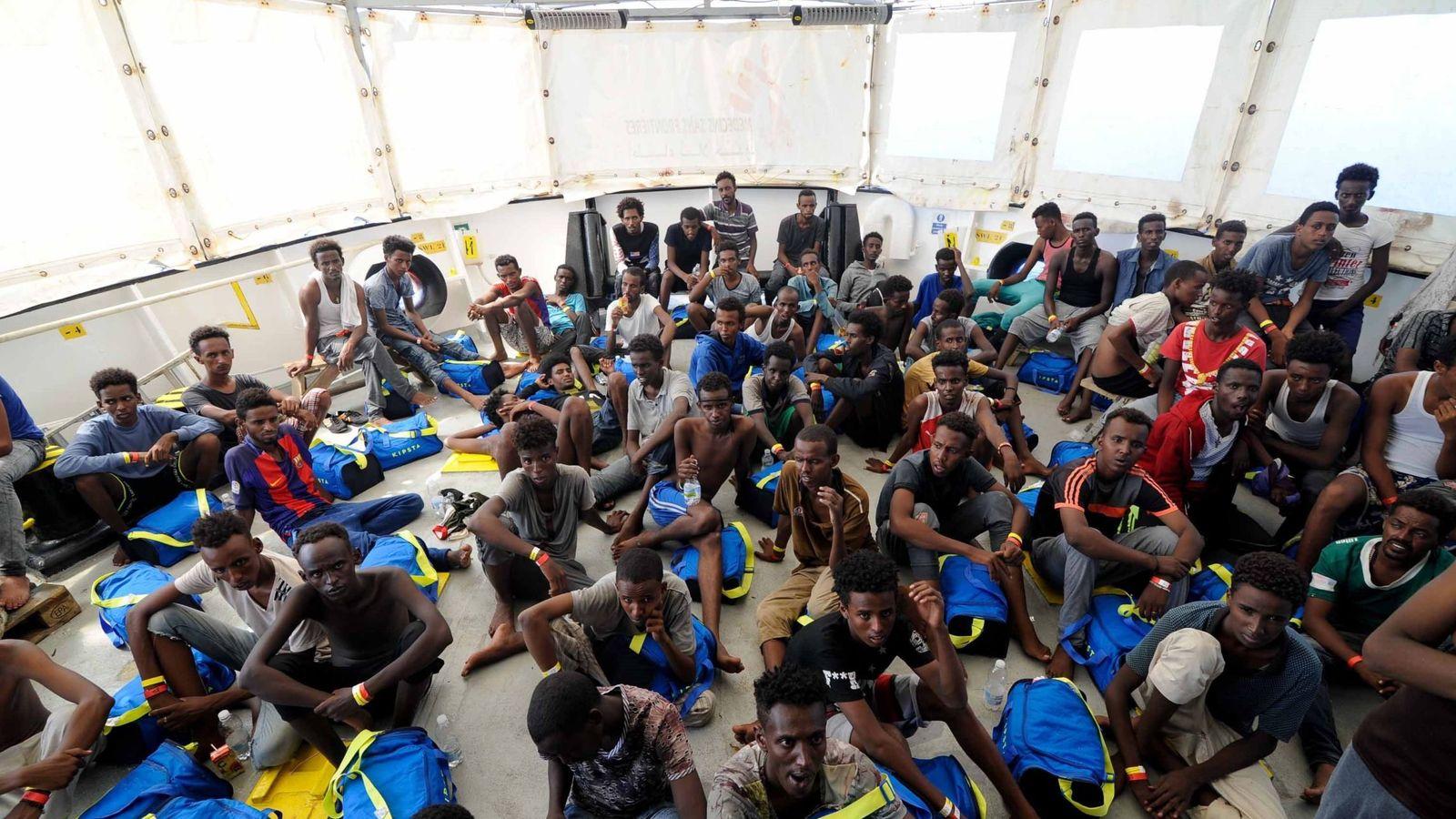 Foto: Los inmigrantes del Aquarius. (Foto cedida por MSF)