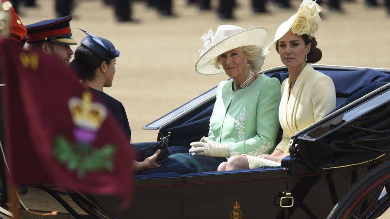 Harry, Meghan, Kate y Camilla en el 'Trooping The Colour 2019'. (Getty)
