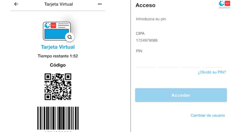 Así es la interfaz de la 'app' Tarjeta Virtual.
