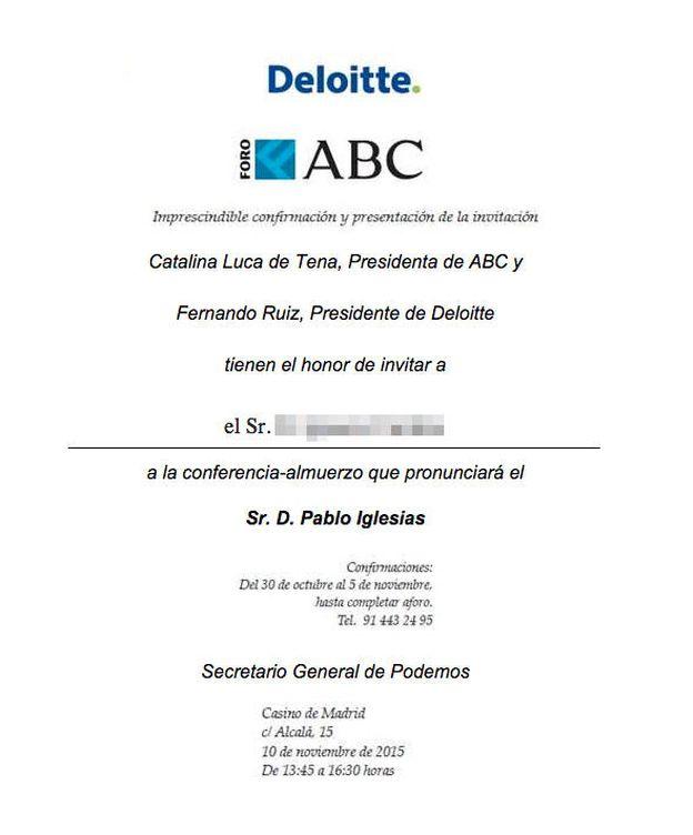 Foto: Invitación al Foro de ABC con Pablo Iglesias.