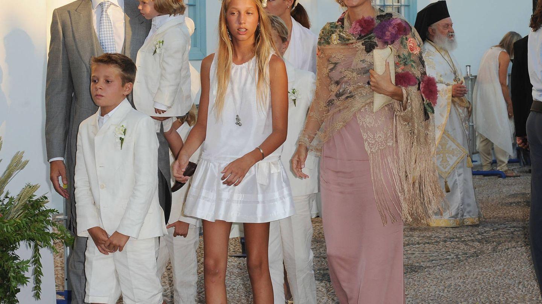 Pablo y Marie-Chantal, junto a sus hijos en la boda de Nicolás y Tatiana. (Getty)