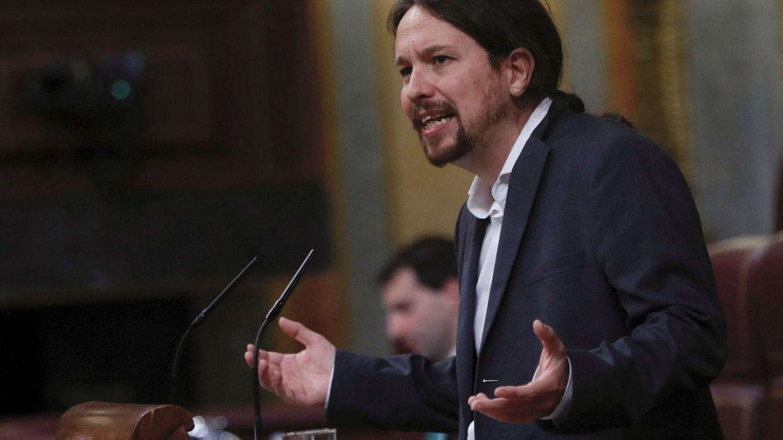 El líder de Podemos Pablo Iglesias, durante su intervención esta mañana en el Cogreso. (EFE)