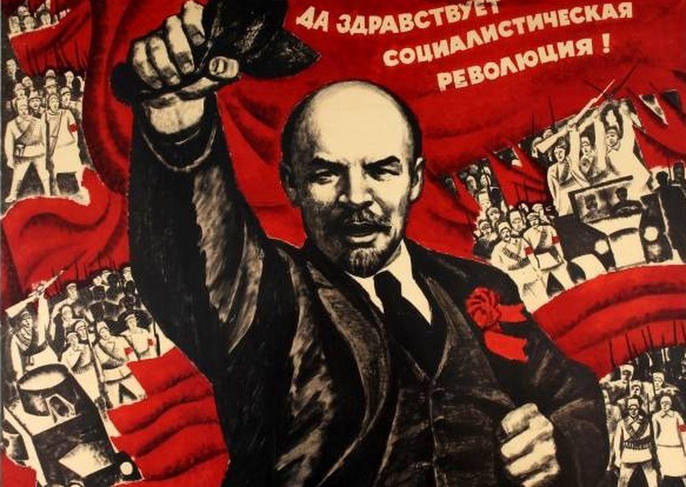 Foto: Cartel propagandístico de Lenin y la Revolución Rusa