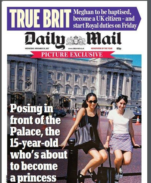 Foto: Portada de 'Daily Mail' con Meghan posando en Buckingham.