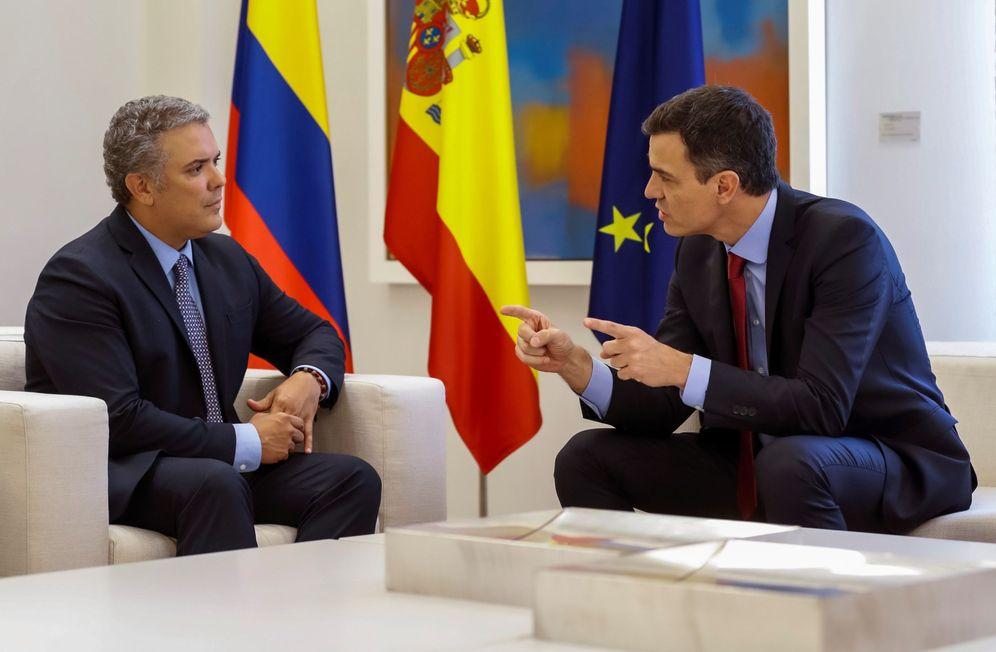 Foto: Pedro Sánchez recibe a Iván Duque el pasado 6 de julio, antes de que este tomara posesión como presidente de Colombia. (EFE)