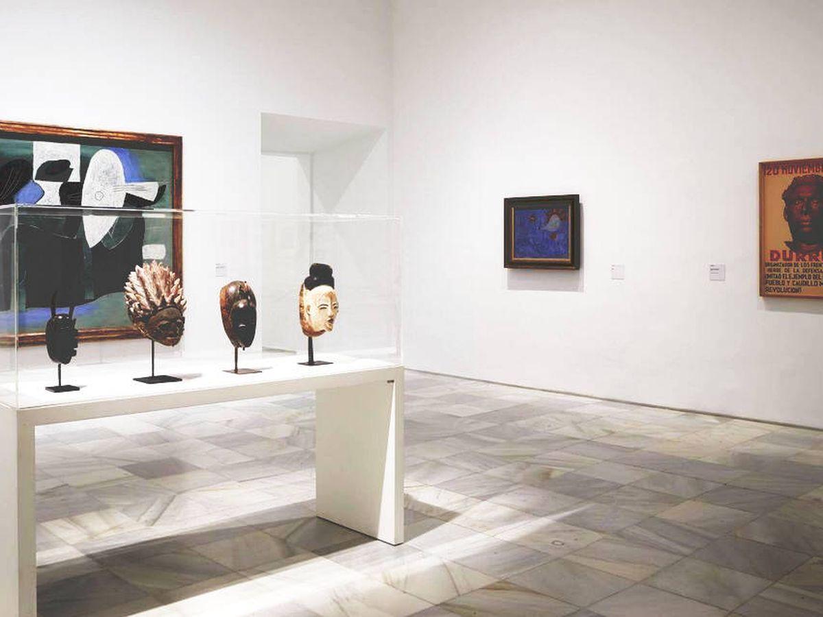 Foto: Un Picasso, un Miró y un cartel anónimo de Durruti. (Museo Reina Sofía)