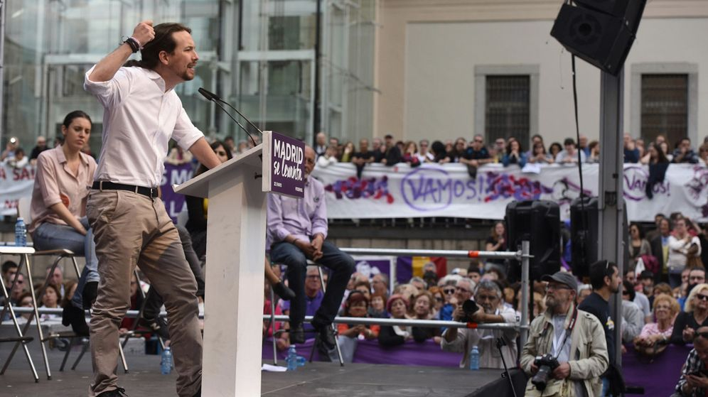Foto: El secretario general de Podemos, Pablo Iglesias, durante su intervención en un mitin en la plaza del Museo Reina Sofía. (EFE)