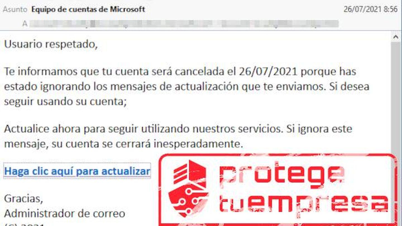Así es el correo que suplanta a Microsoft. (Incibe)