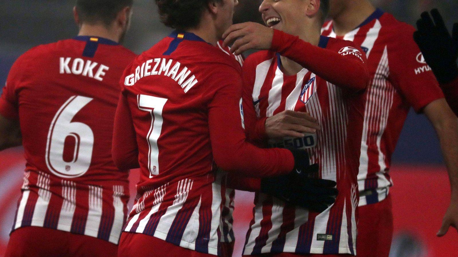 Foto: Jugadores del Atlético de Madrid celebran un gol. (EFE)
