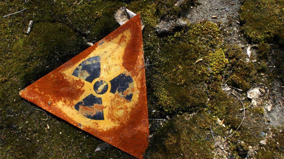 Foto: Una señal de peligro en las inmediaciones nucleares de Chernóbil (EFE/Ricardo Marquina)