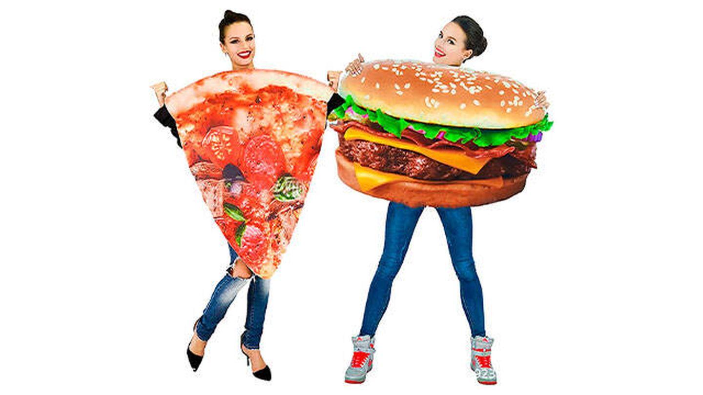 Disfraces de pizza y hamburguesa