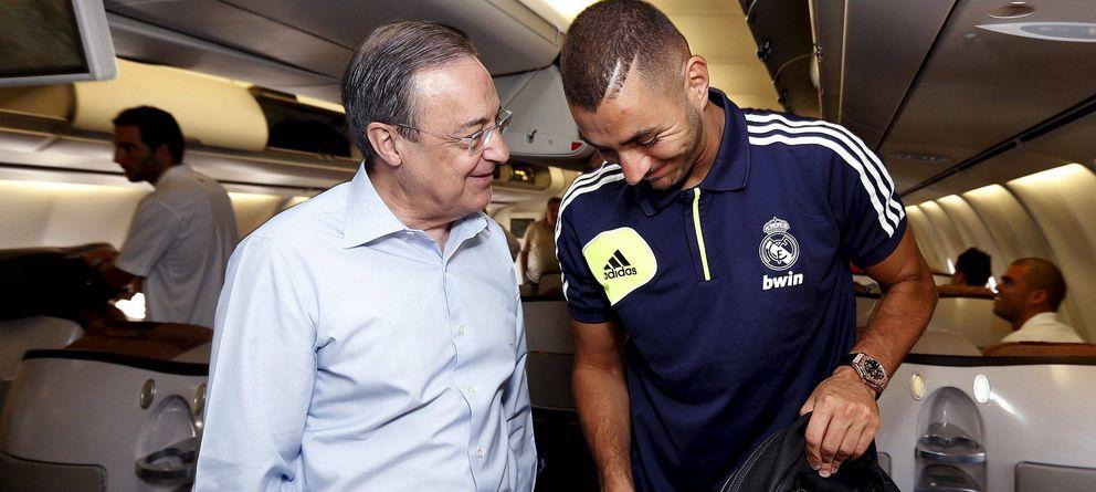 Foto: Florentino Pérez es el principal valedor de Karim Benzema en el Real Madrid.