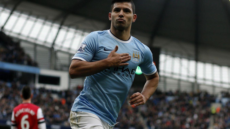 Foto: Agüero celebra un gol con el Manchester City (Efe)