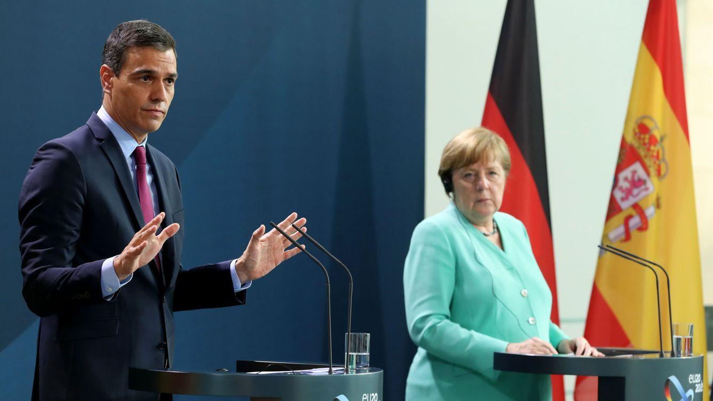 Foto: Pedro Sánchez y Ángela Merkel durante una reunión en Berlín en 2020. (EFE)